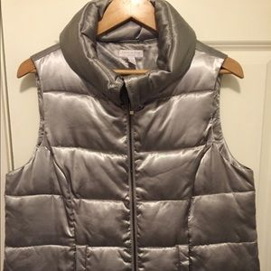Silver puffer vest